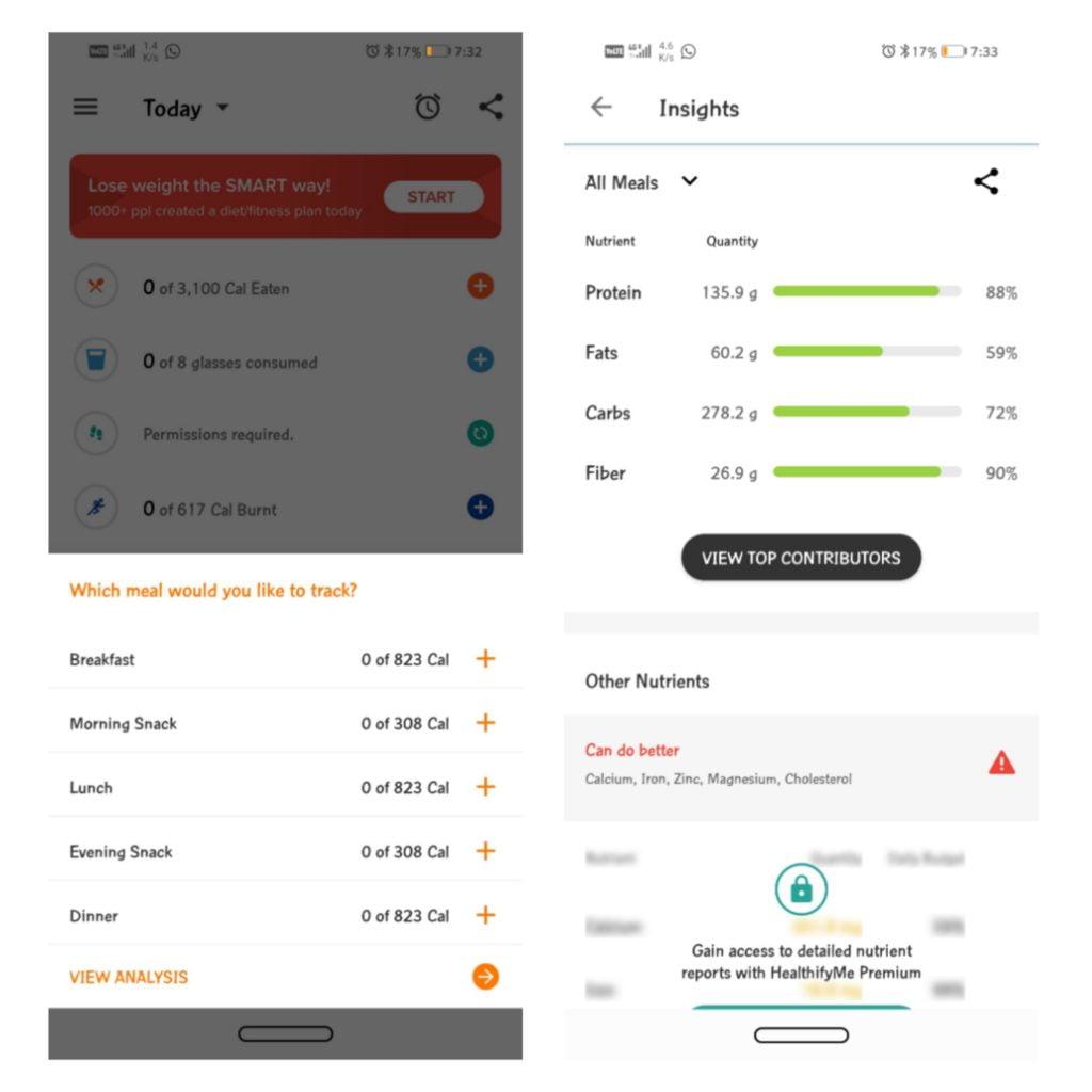 HealthifyMe calorie counter app